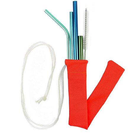 Kit Todos em Um Ocean Color 4 canudos + Case + Escova Higienizadora