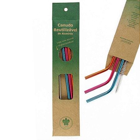 Kit Neon 3 Canudos  Curvos+ Escova Higienizadora