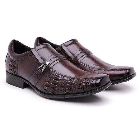Sapato Social Masculino Confort em Couro Nobre Com Trice Lateral