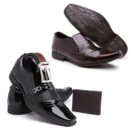 kit 2 pares Sapato social couro napa confort,Nobuck Laser