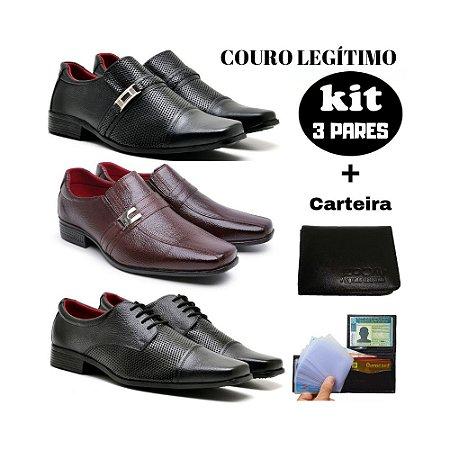 KIT Sapato social couro legitimo + carteira