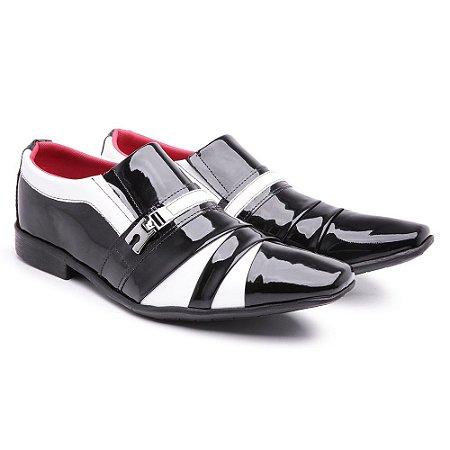 Sapato social  lazer Veniz Preto/Branco