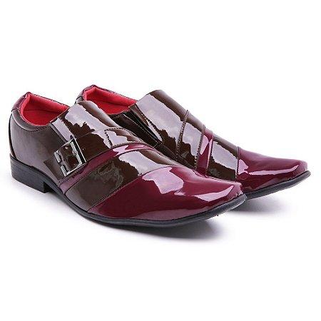 Sapato social  lazer Verniz Capuccino/vermelho presilha
