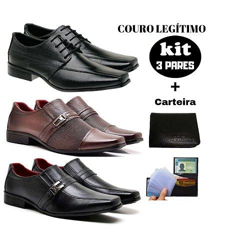 KIT Sapato social couro legitimo + carteira J-02