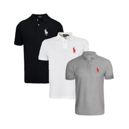 Kit com 3 Camisas Polo