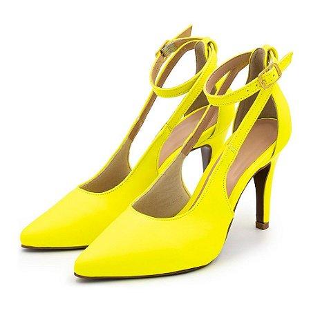 Scarpin Aberto Salto Alto Fino Amarela Neon