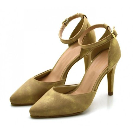Sapato Scarpin Salto Alto Fino Camurçado Nude Cintilante
