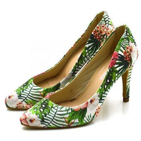 Scarpin Salto Alto Fino Feminino em Tecido Floral Azaléia