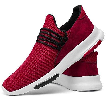Tênis Masculino Confort Caminhada Snearker Vermelho
