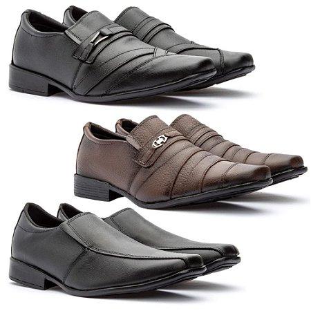 Kit 3 pares de sapato social de couro legitimo