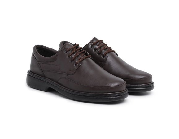 Sapato Masculino Confort De Amarrar Café