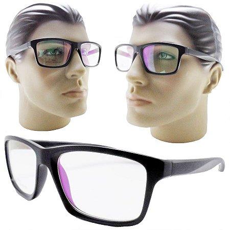 904190fef4a6d Armação oculos para grau masculino 3317 grande esportivo preto ...
