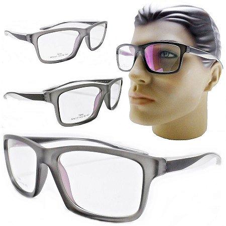 d02bb329343e0 Armação Oculos Para Grau Masculino 3317 Grande Esportivo Cinza Barato