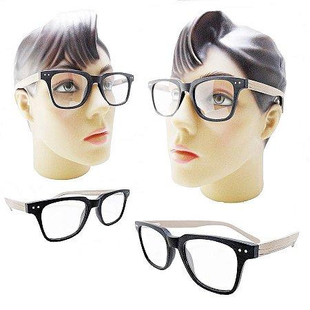 ae424964db20a Armação oculos para grau feminino 009 quadrado acetato estilo madeira