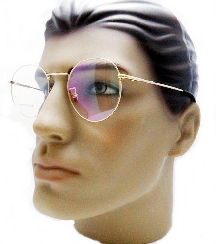 087126fbd2780 Armação oculos para grau masculino redondo retro vintage aro metal dourado