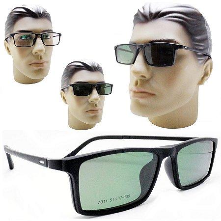 7b4050097e448 Armação oculos para grau masculino 2 em 1 com clipon de sol polarizado 7011