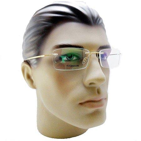 d651e9aef9ea2 Armação Oculos Para Grau Sem Aro Dourado Flutuante Titanium - Óculos ...
