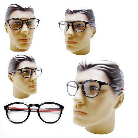 c662aa6166e81 Armação oculos para grau masculino oakley redondo acetato preto moderno