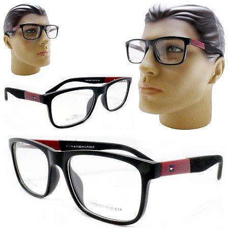 f7d089b0d8c91 Armação Oculos Receituário Masculino Preto Grande Quadrado Acetato ...