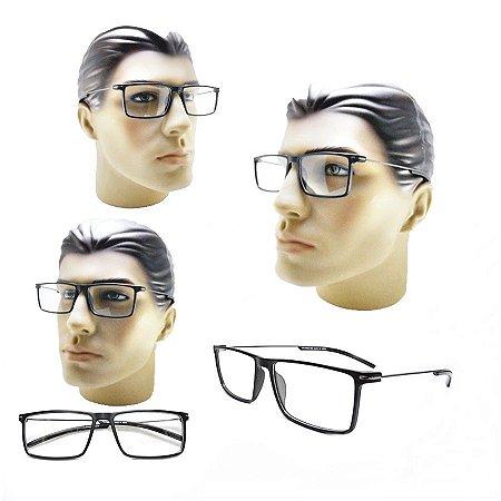 f7f44b06bce78 Armação Oculos Para Grau Masculino Preto Retangular Moderno Barato ...