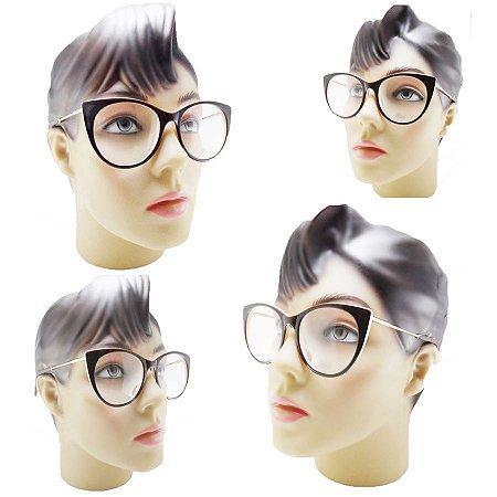 d6e1b7d559b26 Armação oculos Redondo Estilo Gatinho Acetato Para Grau Feminino ...