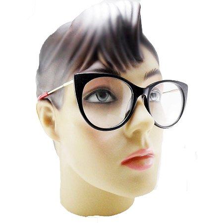509c6dea14bc7 Armação Oculos Para Grau Gatinho Feminino acetato Redondo Preto ...