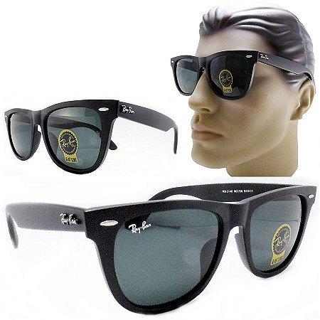 f64a0cf780ed8 Oculos De Sol Masculino 2140 Grande Preto Fosco Lente Cinza - Óculos ...
