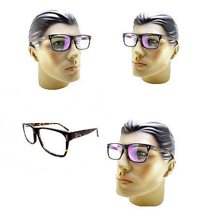 2217633c9caa4 Armação Oculos Tartaruga Acetato Quadrado Feminino Masculino ...