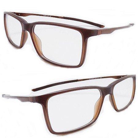 94b1779ce078f Armação oculos para grau masculino marrom quadrado moderno 3502