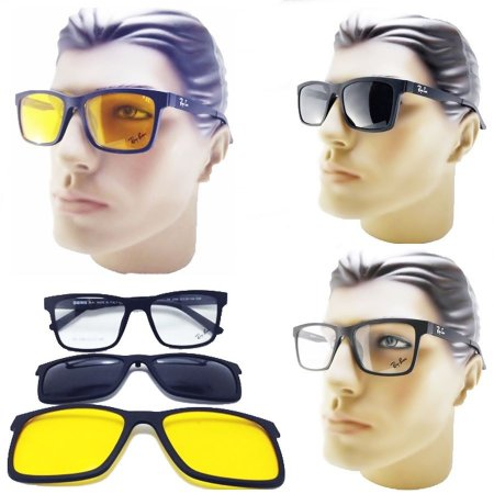 75591e8ad8115 Oculos Clipon Masculino Armação Para Grau 3 Em 1 Com Clipon Solar e Night  Drive