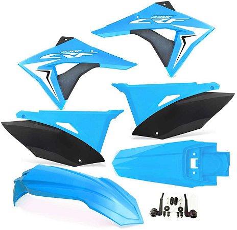 Kit Plástico Crf 230 Elite Biker 2008 - 2018 Azul Neon