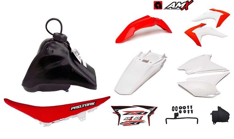 Kit Plastico Crf 230 2018 Amx Adaptável Xr 200 Tornado Vermelho / Branco