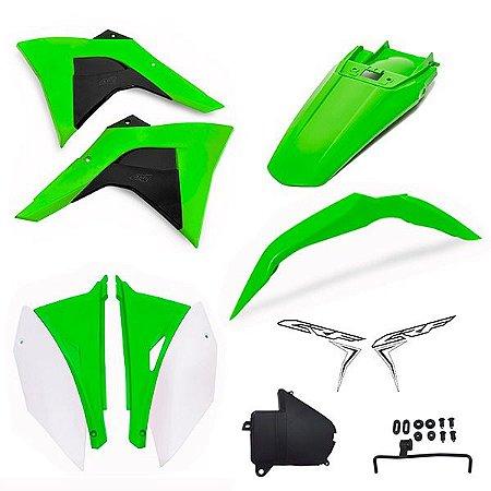 Kit Plástico Crf 230 Amx Premium 2008 - 2019 Verde e Branco