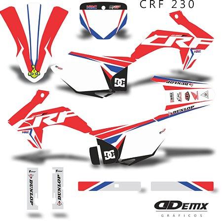 Kit Adesivo 3M Honda Racing Crf 230 S/ Capa de banco