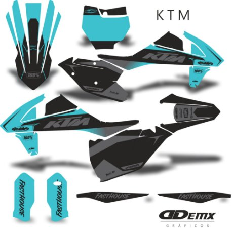 Kit Adesivo 3M KTM TEAL factory S/ Capa de banco
