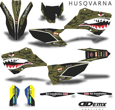 Kit Adesivo 3M husgvarna BOMBER HUSKY GREEN S/ Capa de banco