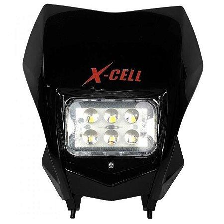 FAROL DE LED X-CELL + CARENAGEM CRF 230 PRETO