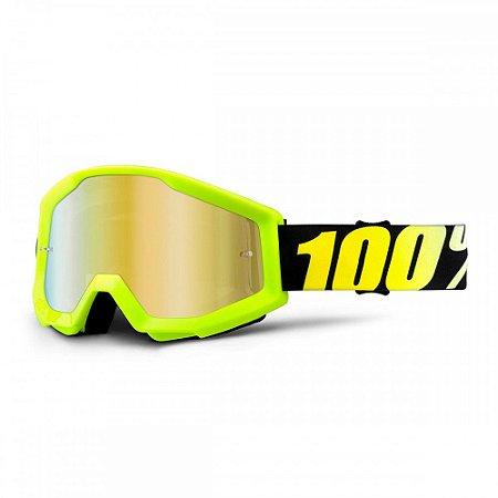 Óculos 100% Strata Neon Yellow Espelhado