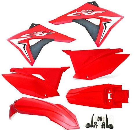 Kit Plástico Crf 230 Elite Biker 2008 - 2018 vermelho / vermelho