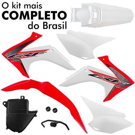 Kit Plástico CRF 230 2008 Até 2018 Pro Tork Vermelho e branco