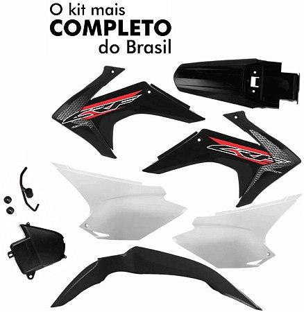 Kit Plástico CRF 230 2008 Até 2018 Pro Tork Preto
