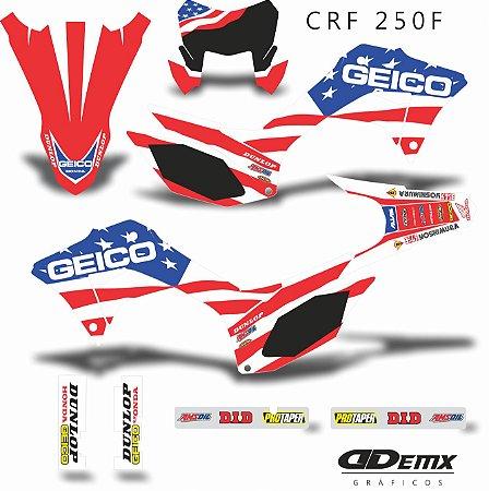 Kit Adesivo 3M GEICO USA NEW Crf 250F 2019