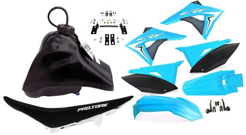 Kit Plastico Elite Biker Crf 230 Adaptável Xr 200 Azul Neon