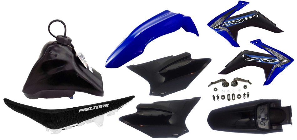 Kit Plastico Crf 230 2018 Avtec Adaptável Xr 200 Azul-preto
