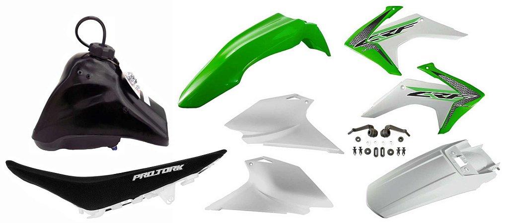 Kit Plastico Crf 230 2018 Avtec Adaptável Tornado Verde