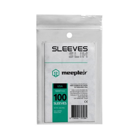 Sleeves Slim Padrão USA (56 mm x 87 mm) - Meeple BR