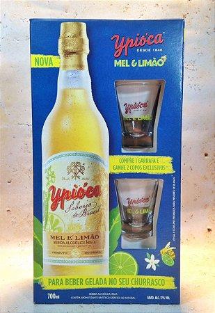 Kit Ypióca Mel e Limão 700ml c/  2 copos 50ml
