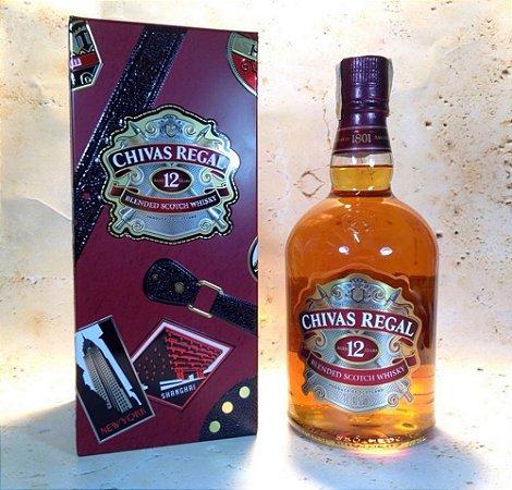 Whisky Chivas Regal 12 anos Edição Globe Trotter 1 Litro