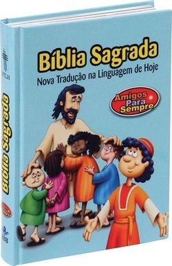 Bíblia Amigos para sempre, capa dura ilustrada, azul