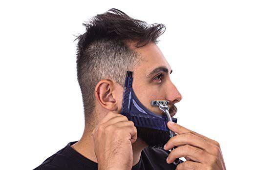 Alinhador Pente Modelador Regua Barba Plastico - Azul